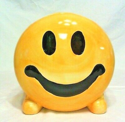 """Vintage Classic Smiley Face Cookie Jar, 9-1/4"""" High, Excellent Condition"""
