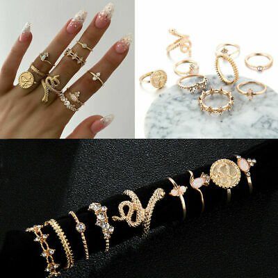 9pc/SET Geometric Rhinestones Knuckle Midi Boho Ring Set Opal Snake Finger Rings