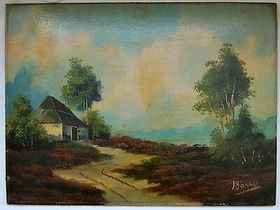 Antique oil painting Dutch panel landscape romantic 19th century signed