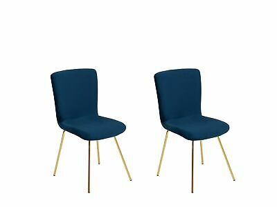 Stupendous Set Of 2 Mara Chairs Blue Velvet Dining Chairs With Gold Dailytribune Chair Design For Home Dailytribuneorg