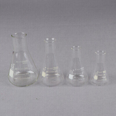 Glass 50-250ml Conical Erlenmeyer Narrow Mouth Flask Lab Glassware