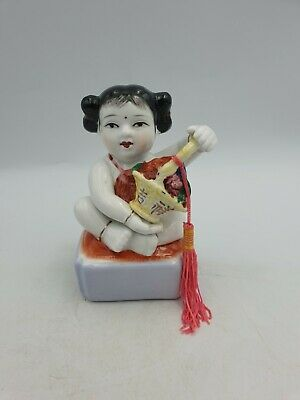 Vintage Chinese Porcelain Sitting Girl Child W/Basket Figurine Hand Painted