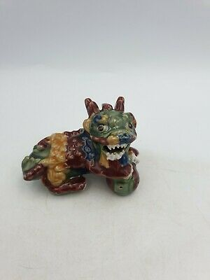 Chinese Pottery Foo Fu Temple Dog Lion Figurine Textured Green Brown Red Glaze
