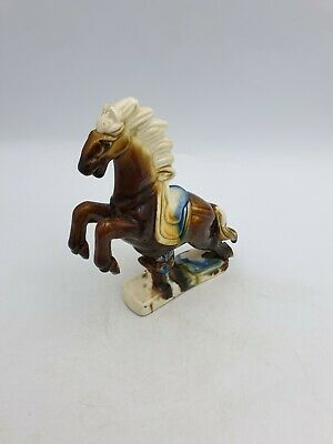 Chinese Ceramic Small Tang War Leaping Horse Figurine Brown Blue Glazed Finish