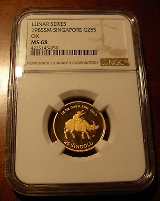 Singapore 1985 Gold 1/4 oz 25 Singold NGC MS68 Ox