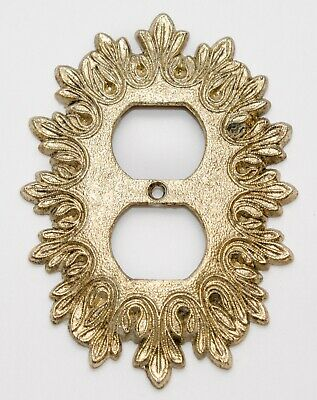 Vintage Ornate Filigree Outlet Plate Cover Brass Plated