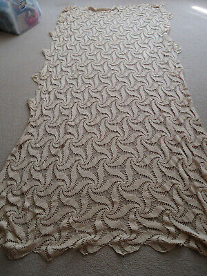 """Large Vintage Rectangular Lace Tablecloth Tea Stained 100"""" by 64"""""""