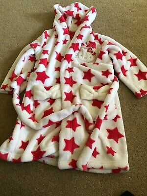 Girls White Pink Hello Kitty Dressing Gown Age 5-6 Years marks And Spencer Hood