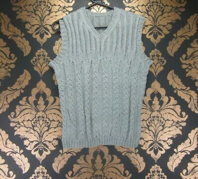 """VINTAGE RETRO HIPSTER GREY CABLE HOME KNIT V-NECK TANK TOP CHEST 40"""" j148"""