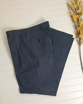 Brooks Brothers 1818 Fitzgerald Mens Blue Grey Front Cotton Chinos Pants 33/32