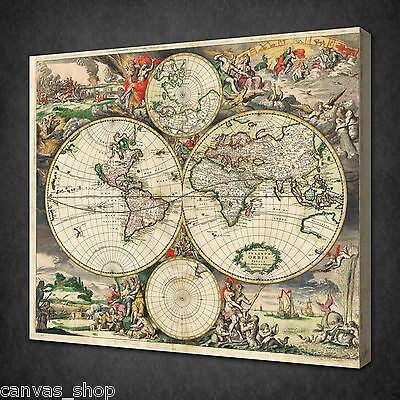 Antique Map Vintage Retro Wall Art Picture Canvas Print Ready To Hang