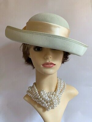 BALFOUR Polyester Pale Green Formal Dress Hat Rear Flowers & Peach Ribbon & Bow