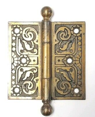 """Antique Brass Plated Cast Iron Ornate Canon Ball Top Door Hinge 3 1/2 """"x3 1/2 """""""
