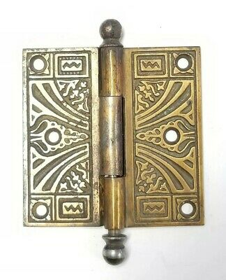 """Antique Brass plated Cast Iron Ornate Canon Ball Top Door Hinge 3 1/2"""" x3 1/2"""""""