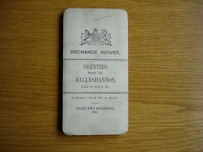 Early Irish Ordnance Survey Map. 1 inch. cloth.  Glenties & Ballyshannon. 1905.