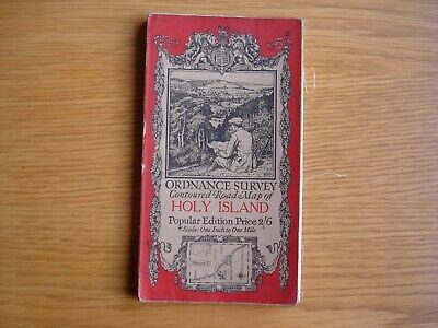 Early Ordnance Survey Map. 1 inch to 1 mile Holy Island. cloth. 1926