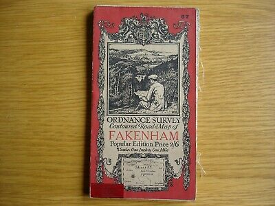 Early Ordnance Survey Map. 1 inch to 1 mile Fakenham. cloth. 1921
