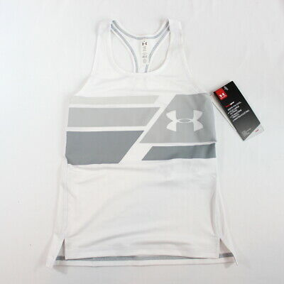 Under Armour Youth Girls Heat Gear Racerback Tank Top Fitted White Gray XS