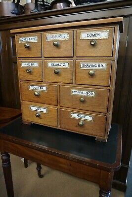 Victorian Pine 10 Bank of Chemist Drawers, Apothecary Drawers C.1880