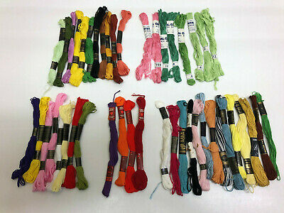 Lot of Embroidery Threads Stranded cotton mixed brands - 45 skeins. mostly new