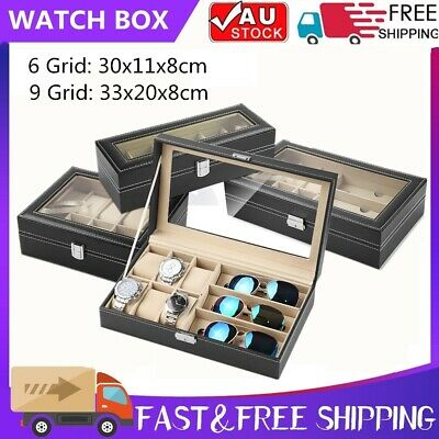 6/9 Grids Watch Jewelry Storage Holder Box Watches Sunglasses Display Case Gift
