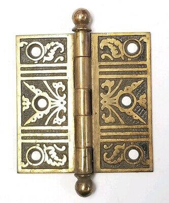 "Antique Brass plated Cast Iron Eastlake Ornate Door Hinge 3"" x 3"""