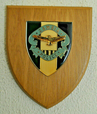 Large Zambia Police mess wall plaque shield