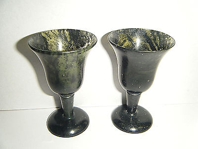 Pair Natural Moss Agate Liquor Cordial Footed Glasses 2.5in Turned Natural Stone
