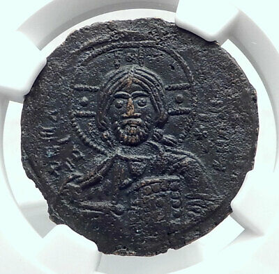 JESUS CHRIST Class A3 Anonymous Ancient 1020AD Byzantine Follis Coin NGC i80772