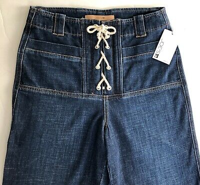 New Joe's Women's Blue High Waisted Lace Up  Front Tapered Crop Jeans Sz 26
