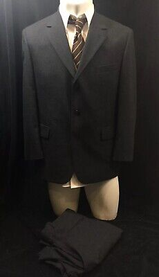 Stafford Mens Suit 2pc Charcoal Black Wool Classic Fit 42S
