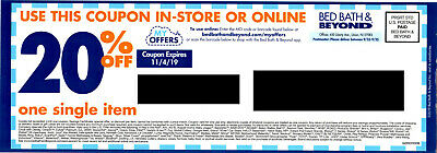 Bed Bath & Beyond Coupon: 20% Off One Item In Store or Online, Exp. 11/4/19