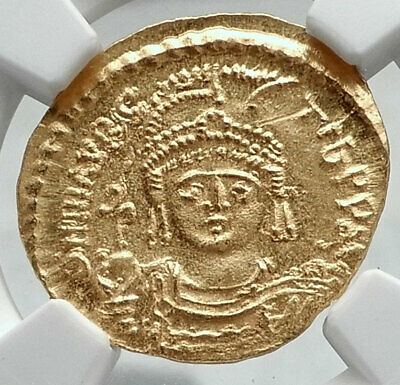 MAURICE TIBERIUS Authentic Ancient Byzantine GOLD Solidus Coin NGC MS i80682
