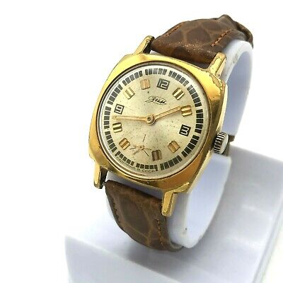 Retro POBEDA ZIM Gold Plated 18k Vintage Watch Russian Small Square Dial TESTED