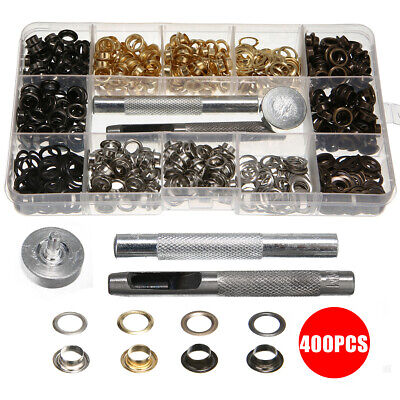 400 x Grommet Metal Eyelet Kit Use in Bags Shoes DIY Projects 4 Colors Tool