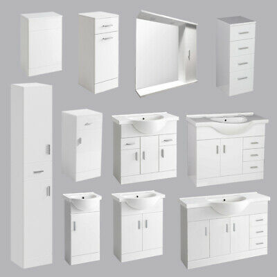 Bathroom Vanity Unit Tall Cabinet Laundry Storage Drawer Furniture Mirror Toilet