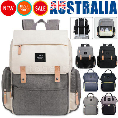 GENUINE LAND Multifunctional Baby Diaper Backpack Changing Bag Nappy Mummy AU