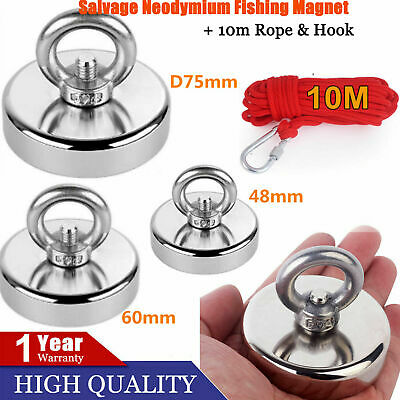 66kg Pull Salvage Strong Recovery Magnet Fishing Treasure Neodymium with Rope