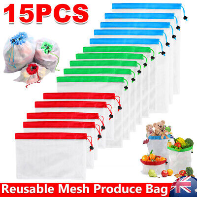 15x Reusable Produce Bags Mesh Grocery Shopping Vegetable Fruit Bag Eco Friendly