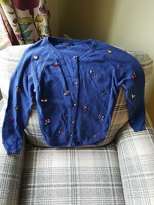 Girls Marks and Spencer Autograph Midnight Blue Party Christmas Cardigan 9-10