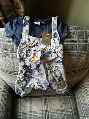 Baby girls next dungarees/outfit floral 6-9 bnwt
