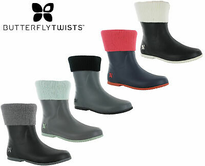 Womens Casual Wellingtons Butterfly Twist Fold Up Sock Top Rain Boots ETON