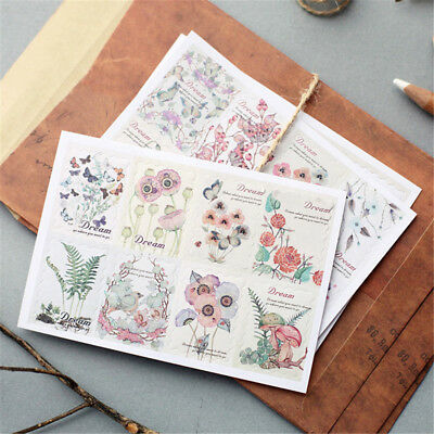Hand-Painted Flower Plants Decorative Adhesive Stickers Decor Diary Stickert~GN