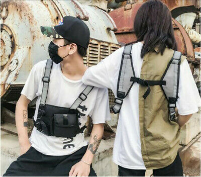 Tactical Walkie Talkie Waistcoat Vest Radio Hip Hop Harness Chest Rig Pouch Bag