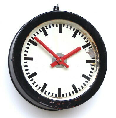 60s E GERMAN Eastern Bloc Midcentury Vintage Retro Industrial Factory Wall Clock