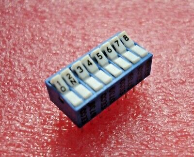 EECO D739 - PCB DIP SWITCH - 8 WAY ROCKER - 16 PIN DIL - BLUE with WHITE ROCKER