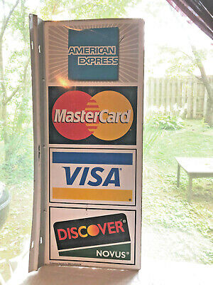 Used Metal Credit Card Sign Wall Mounted 26 x 11 Amex Visa MC Discover