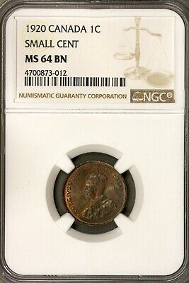Canada 1920 1 Cent NGC MS 64 BN