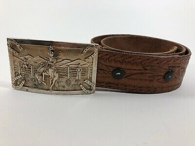 "Brown Tooled Leather Belt Boys' Youth Size 26? 1.5"" Wide Western Rodeo Buckle"