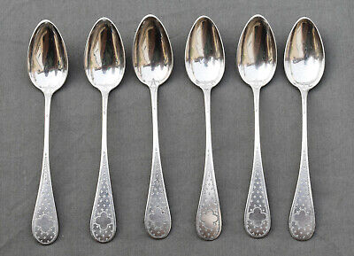 6 CUILLERES A CAFE ARGENT MASSIF MINERVE silver coffee spoons STYLE LOUIS XVI *